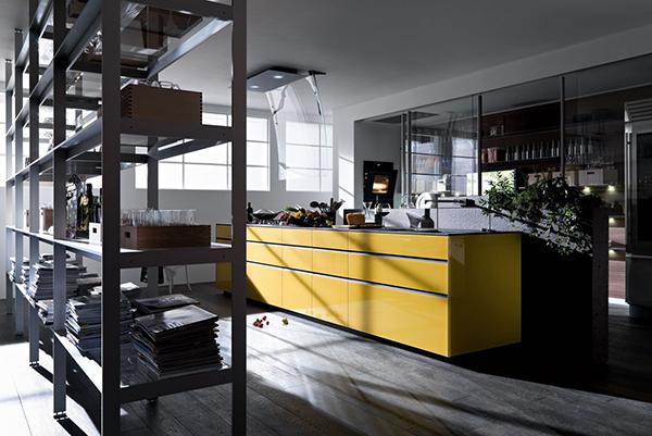 offene bereiche haus raumteiler kücheninsel gelb frisch