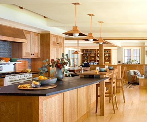 offene küchen holz hell arbeitsplatet küchenblock