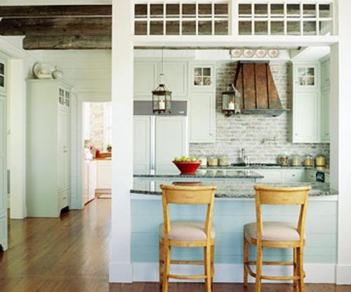 offene küchen küchenspiegel blau kompakt stehstuhl holz