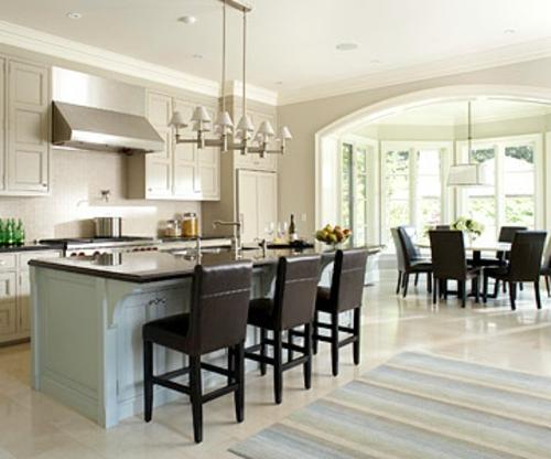 offene küchen leder stuhl küchenarbeitsplatte wand teppich pastell
