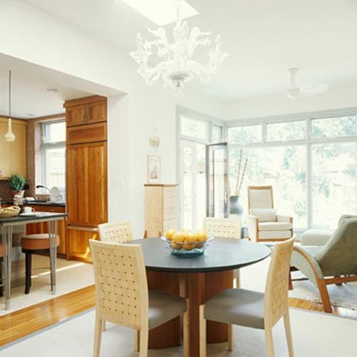 offene küchen rund esstisch möbel essecke idee weiß