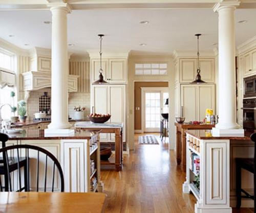 offene küchen stark frequentiert bereich  holz säulen