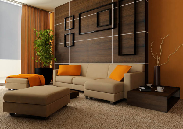 wohnzimmer deko orange:Modern Orange Living Room Idea