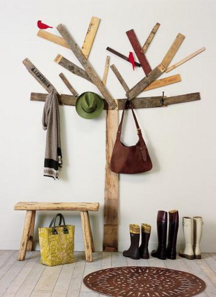 originelle deko ideen rustikales altholz foyer baum - Deko Idee Holz