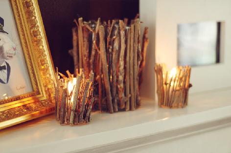 originelle Ideen Ast Zweigdekorationen im Inneren Kerze