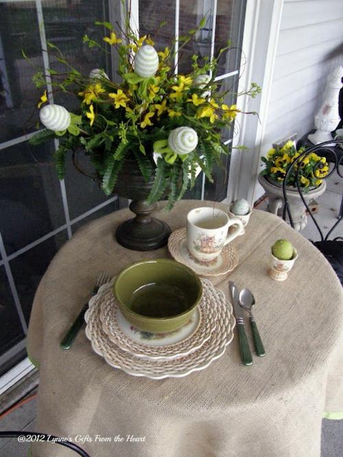 ostermahl idee rund klein tisch veranda deko idee ostern