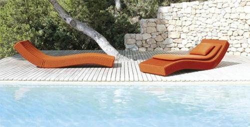 paola lenti aqua relax sessel steinwände baum schwimmbecken