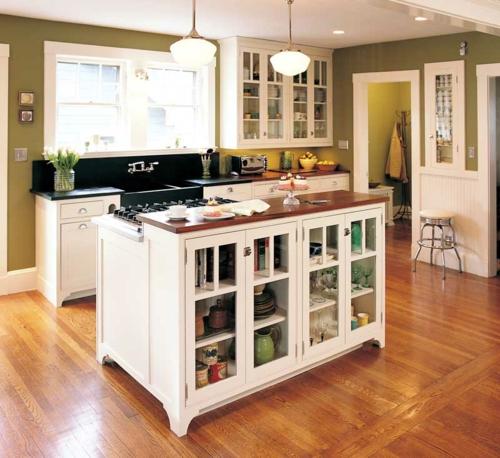 perfekte kücheninsel schubladen aufbewahrung holzplatte kochplatte