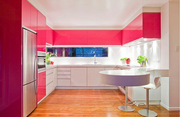 wohnzimmer ideen pink:Pink Kitchen Design