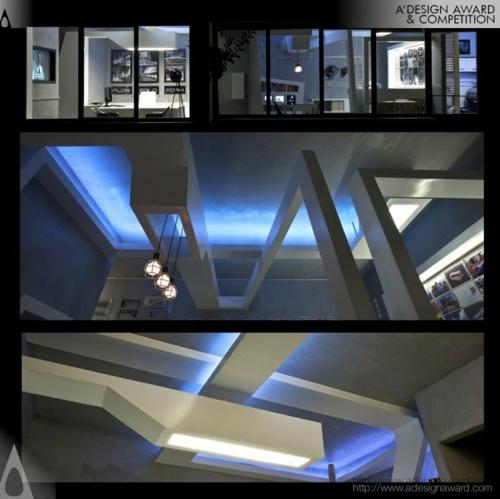 projekt studio nl beleuchtung zimmerdecke blau Originelles Schreibtisch-Bett