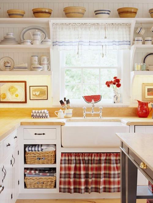renovierung küche schottenstoff kariert rustikal design
