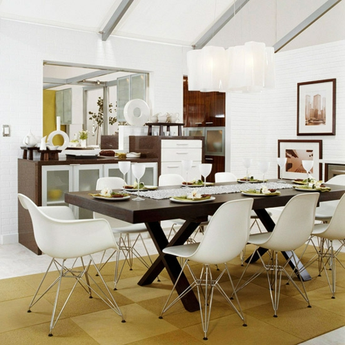 retro küchen jahrhundertmitte weiße plastische stühle