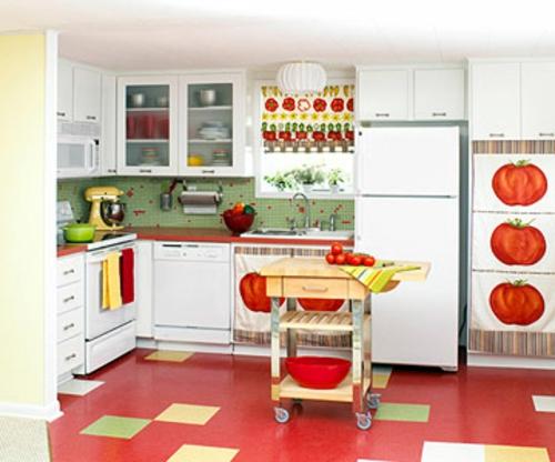 retro-küchen rot bodenbelag küchenspiegel garten stil