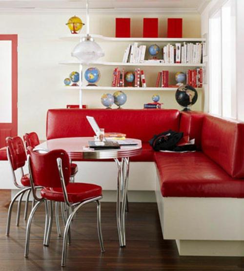 retro-küchen rot grell möblierung essmöbel ecksofa