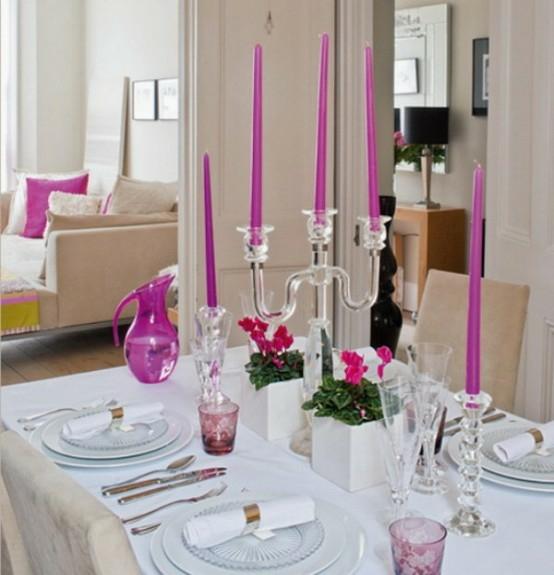 rosa kerzen dekorativ elegant kanne glas teller esstisch französisch wohnbereich