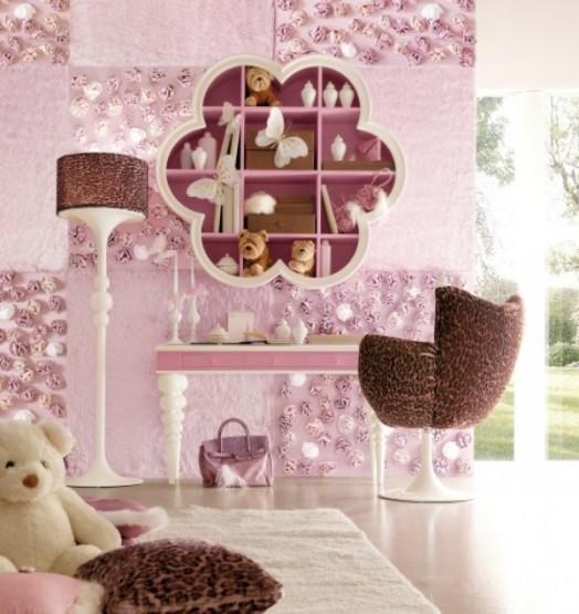 rosabraune kinderzimmer designs bettwäsche wandregale