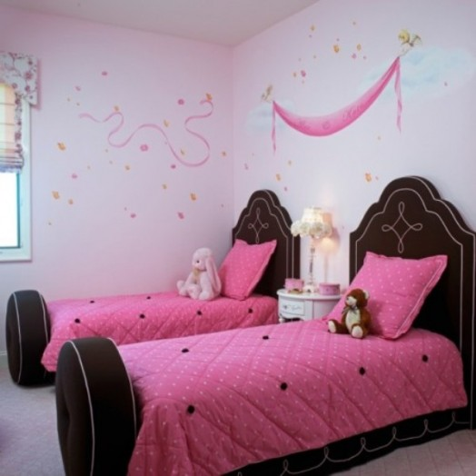 Kinderzimmer Design Tapeten : Brown and Pink Girls Room