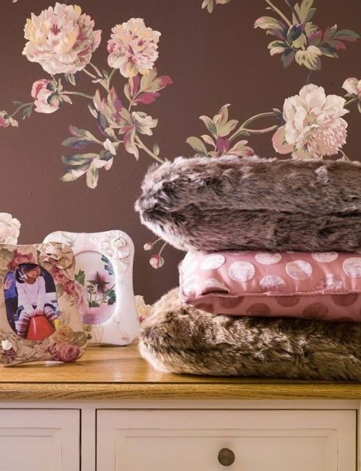 Kinderzimmer Design Tapeten : Chocolate and Pink Bedroom