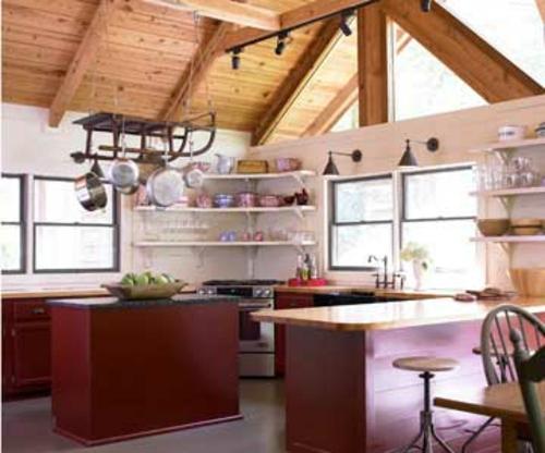 rustikal ländlich kombiniert modern küchenschränke fenster