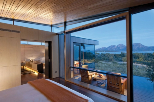saffire freycinet urlaubsort tasmanien schlafzimmer terrasse