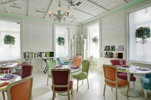 designs im restaurant farbig
