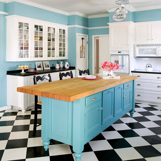 schahbrettmuster boden blau holz kücheninsel