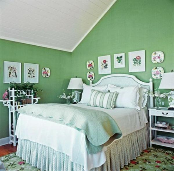 schlafzimmer blumenmuster teppich wand