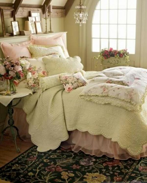schlafzimmer frühling blumendeko romantisch