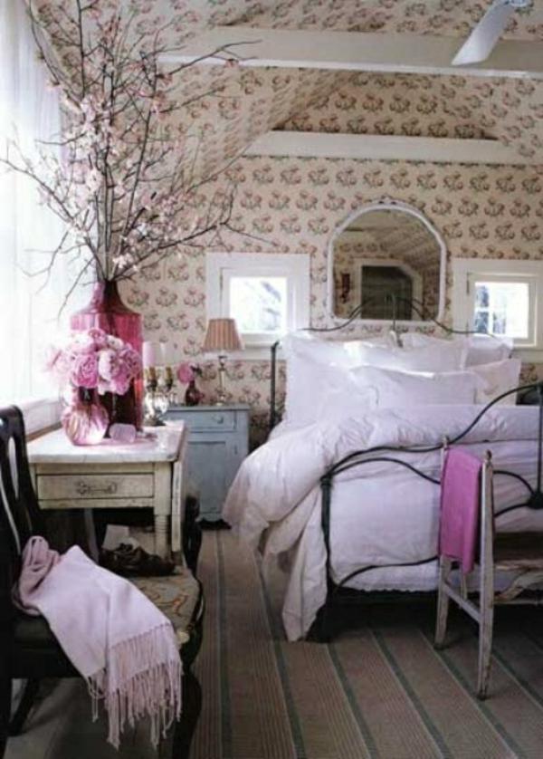 schlafzimmer verzierung lila dekoelemente zweige