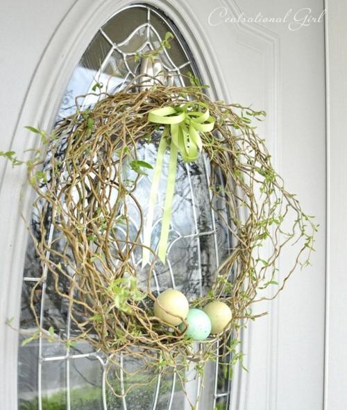 schlicht originell kranz ostern eier tür oval glas front veranda