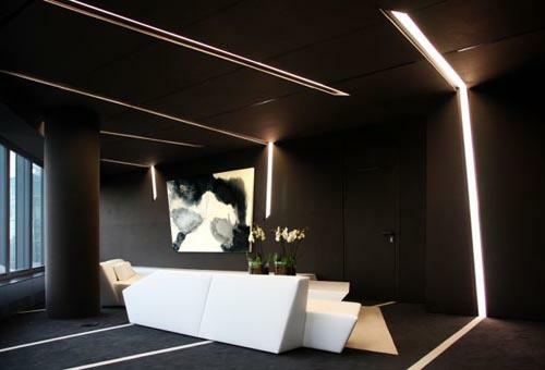 schwarz weiß einrichtung office beleuctung innovativ wandgemälde