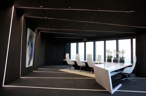schwarz weiß einrichtung office fenster möblierung stilvoll