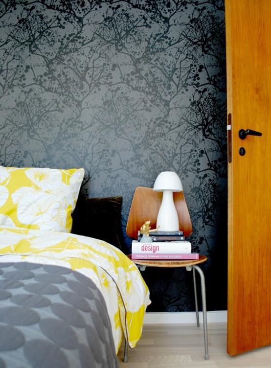 schwarz weiß tapeten floral art deko schlafzimmer