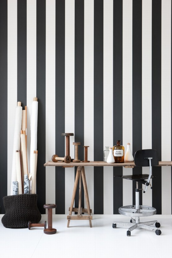 schwarz weiß tapeten streifen muster art deko