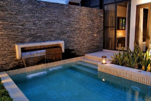 schwimmbecken steinmauer außen design ambiente
