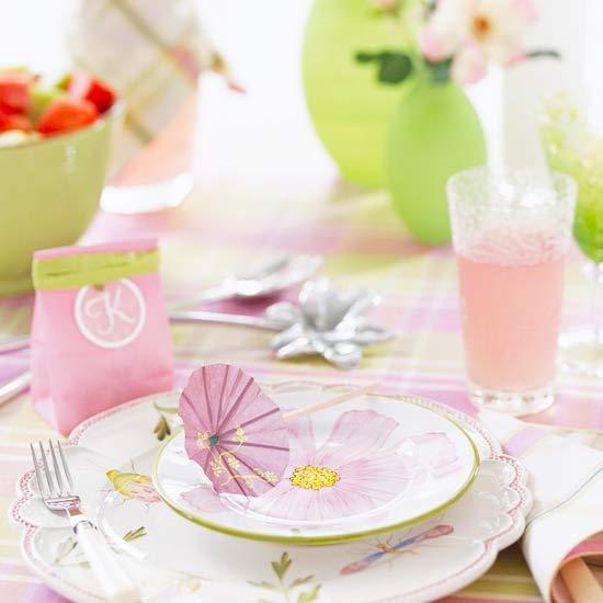 selbstgemachte ostern tischdeko grün rosa idee