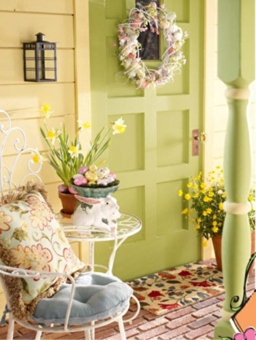 sessel samt bequem kissen veranda deko ideen zu ostern originell osterhasen