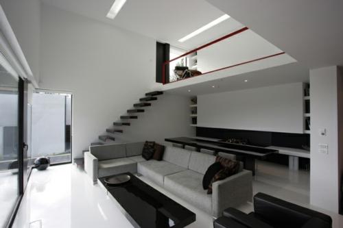 Interior design wohnzimmer  Schickes Interior Design in Schwarz-Weiß mit roten Akzenten