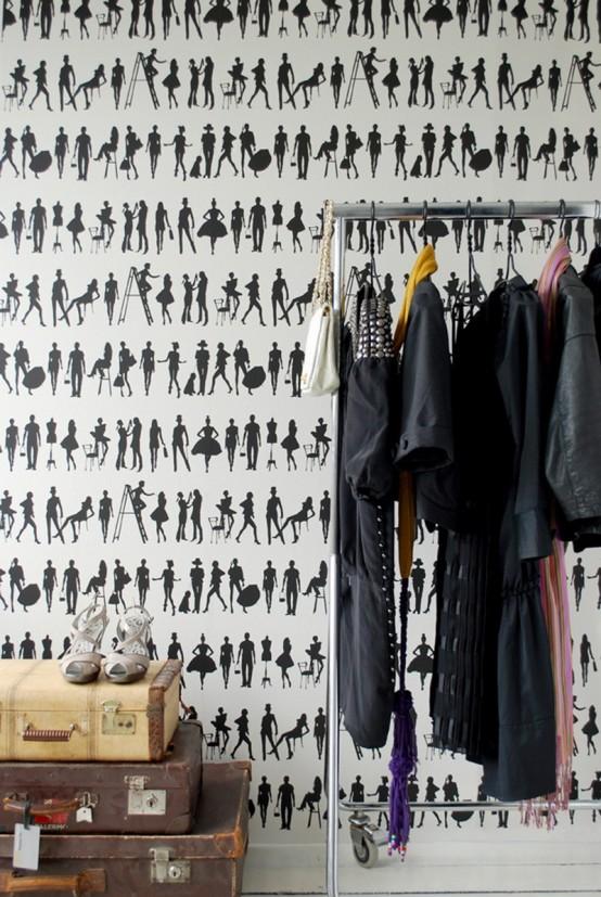 silhouetten muster schwarz weiß ankleideraum