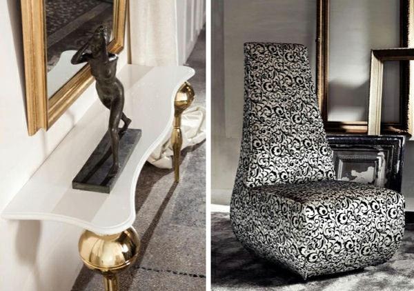 skulptur spiegel wohnraum glamourös sessel