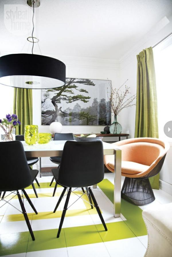 speiseraum frühling deko schwarz stühle