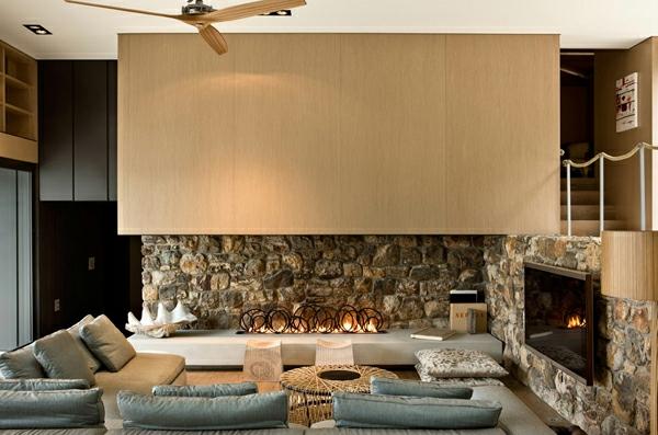 rustikale design ideen fr badezimmer steinwand kamin ... - Steinwand Design