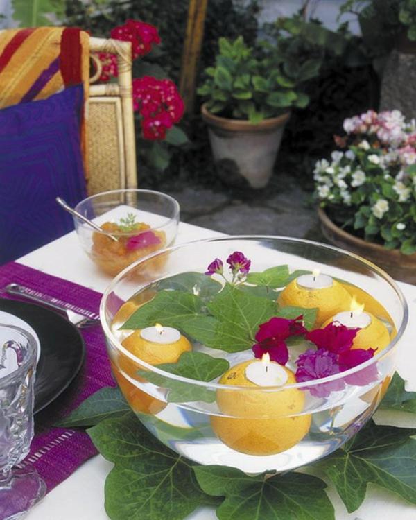 stilvoll glasschale orangen efeu teelichter