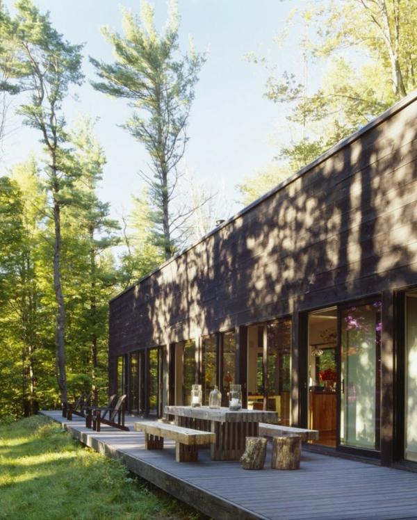 stilvolles haus design 16 türen new york veranda holz bäume