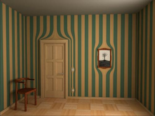 Surrealistische Tapeten antik streifen vertikal blau grün