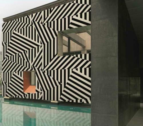 surrealistische wandtapeten unwirklich weiß schwarz streifen