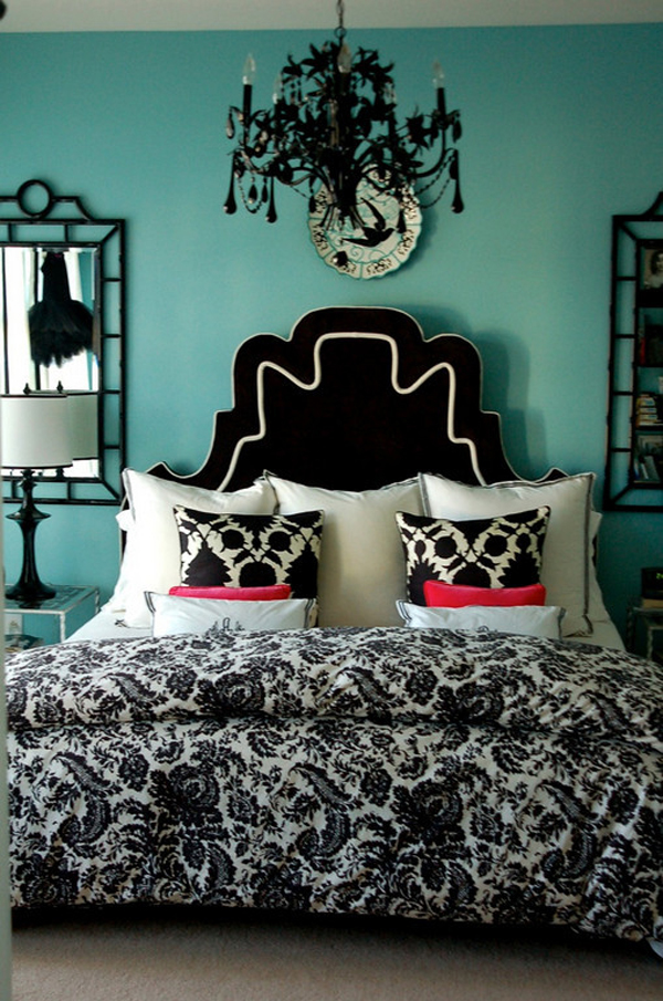 Marvelous Schlafzimmer Turkis Schwarz #2: Türkisfarbene Interieur Designs Schlafzimmer Schwarz Weiß
