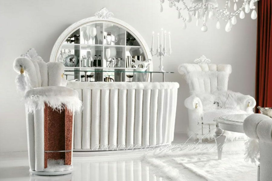 bar wohnzimmer möbel:tiffany altamoda weiß kristallen theke bar wohnzimmer rund