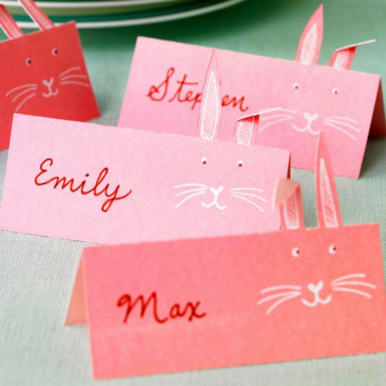 tischkarten hasengesichter idee originell rosa papier