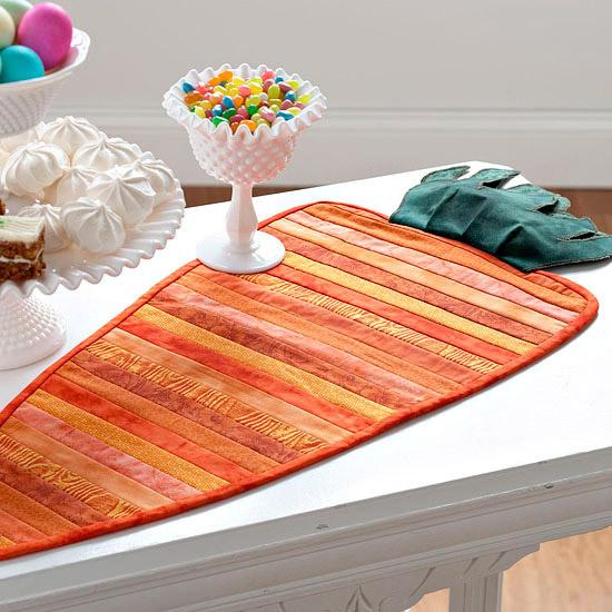 tischläufer orange streifen deko ostern idee originell